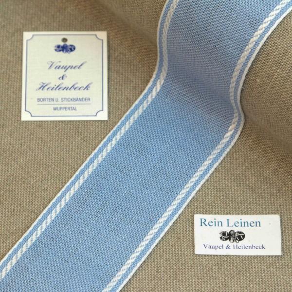 Leinenband 50 mm, 11-fädig, Rand gestreift, Farbe 1, hellblau - weiß