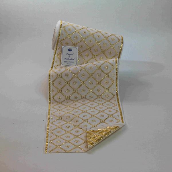 Schmuckborte (Tischband) 160 mm, Farbe 014, weiß - gold