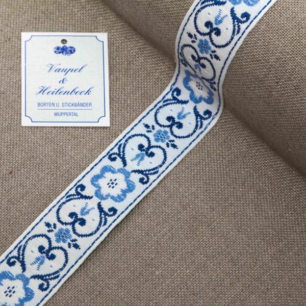 """Küchenborte """"Zwiebelmuster"""" 28 mm, Farbe 016, weiß - blau"""