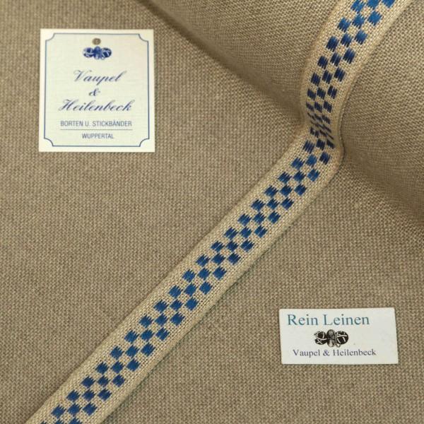 Leinenband 18 mm, 11-fädig, kariert, Farbe 19, natur - blau