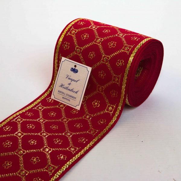 Schmuckborte (Tischband) 100 mm, Farbe 054, rot - gold