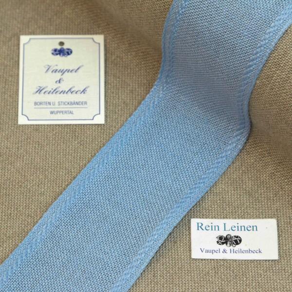 Leinenband 50 mm, 11-fädig, Rand gestreift, Farbe 212, hellblau - hellblau