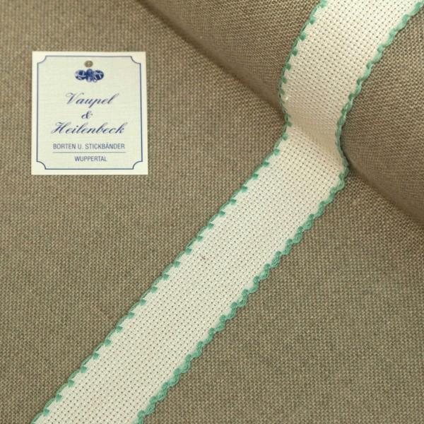 Aida-Stickband 100% BW, 30 mm, Farbe 54, weiß - türkis