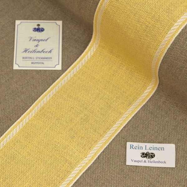 Leinenband 70 mm, 11-fädig, Rand gestreift, Farbe 1, gelb - weiß