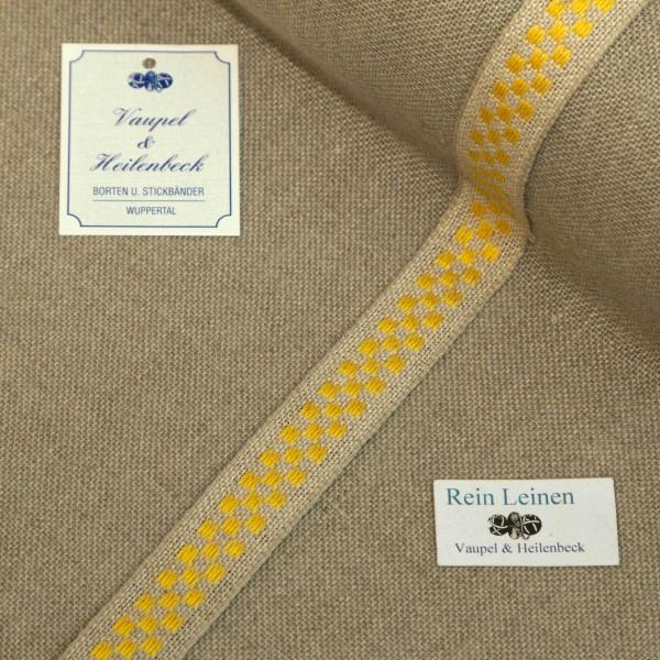 Leinenband 18 mm, 11-fädig, kariert, Farbe 4, natur - gelb
