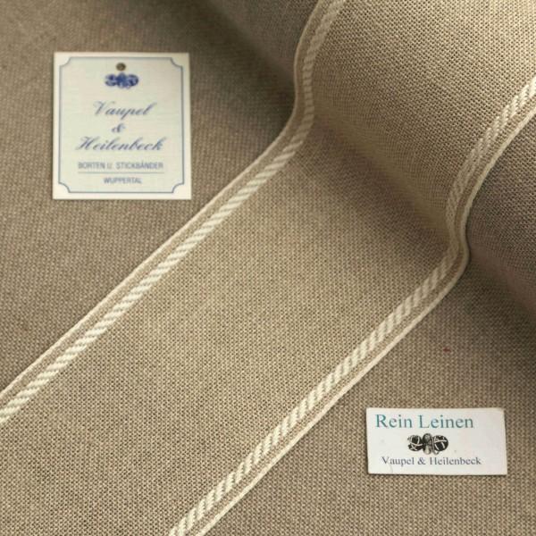 Leinenband 70 mm, 11-fädig, Rand gestreift, Farbe 1, natur - weiß
