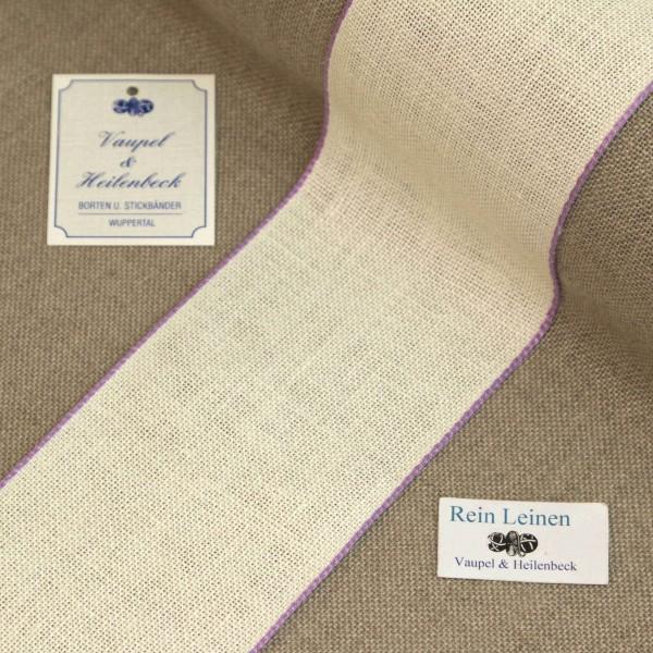 Leinenband 70 mm, 11-fädig, Farbe 44, gebleicht - Rand violett