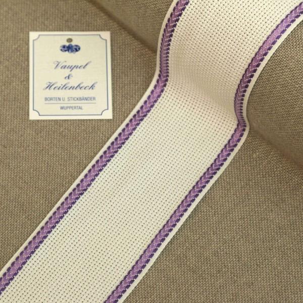 Aida-Stickband 100% BW, 55 mm, Farbe 44, weiß - violett