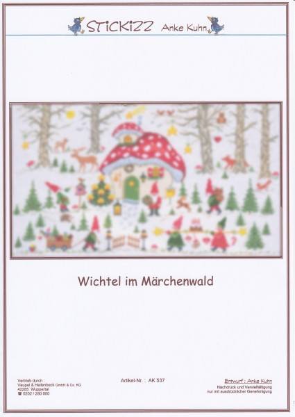 """Stickizz Kreuzstich No. AK537 """"Wichtel im M""""ärchenwald"""""""