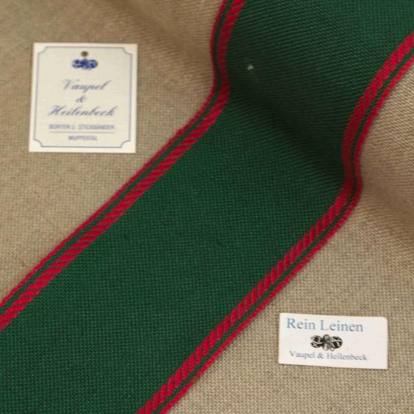 Leinenband 70 mm, 11-fädig, Rand gestreift, Farbe 208, grün - rot