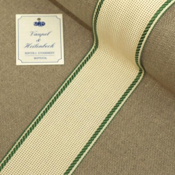 Aida-Stickband 100% BW, 50 mm, Farbe 23, beige - grün