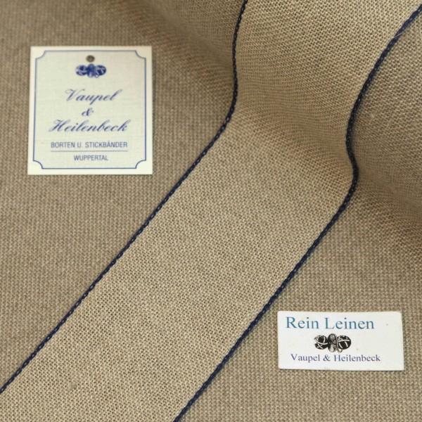 Leinenband 50 mm, 11-fädig, Farbe 13, natur - Rand dunkelblau