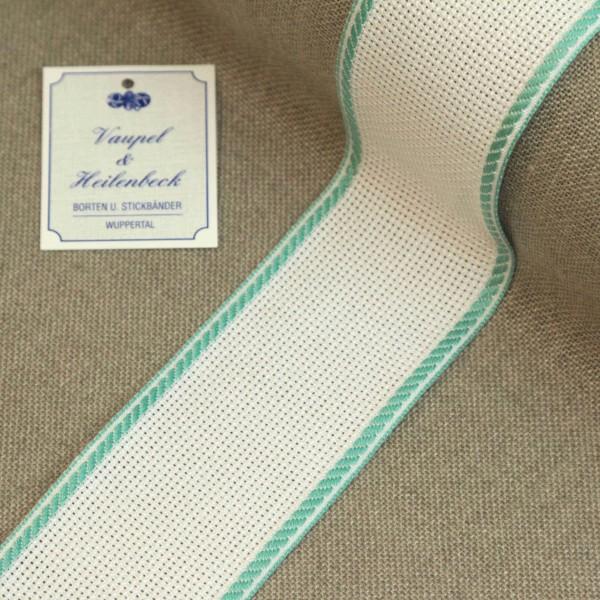 Aida-Stickband 100% BW, 50 mm, Farbe 54, weiß - türkis