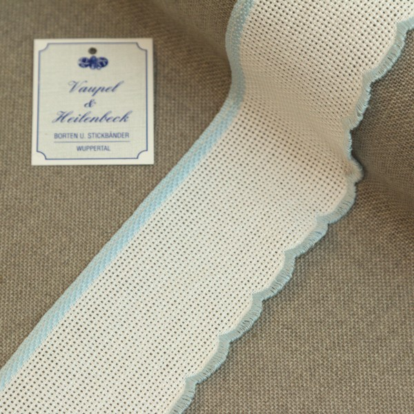 Aida-Stickband 100% BW, 55 mm, Farbe 20, weiß - hellblau