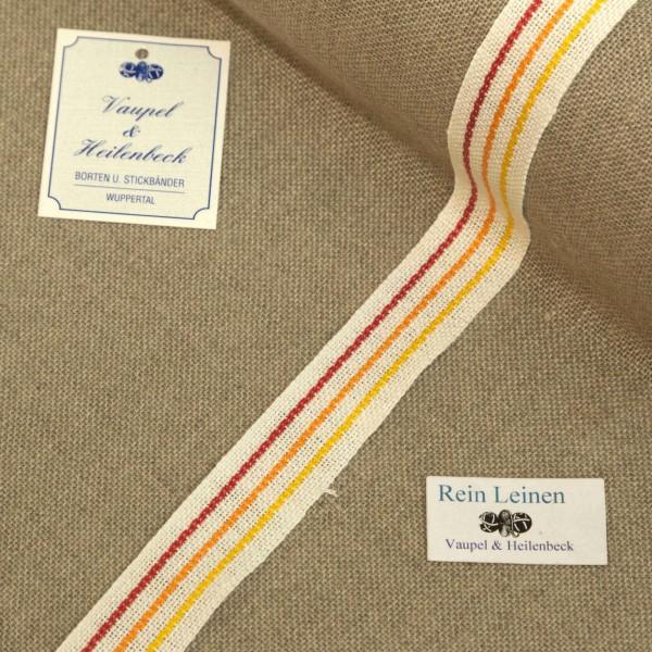 Leinenband 20 mm, 11-fädig, Rand gestreift, Farbe 104, gebleicht - 3 farbig