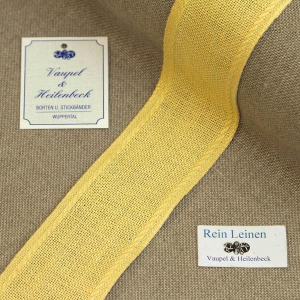 Leinenband 40 mm, 11-fädig, Rand gestreift, Farbe 2102, gelb - gelb