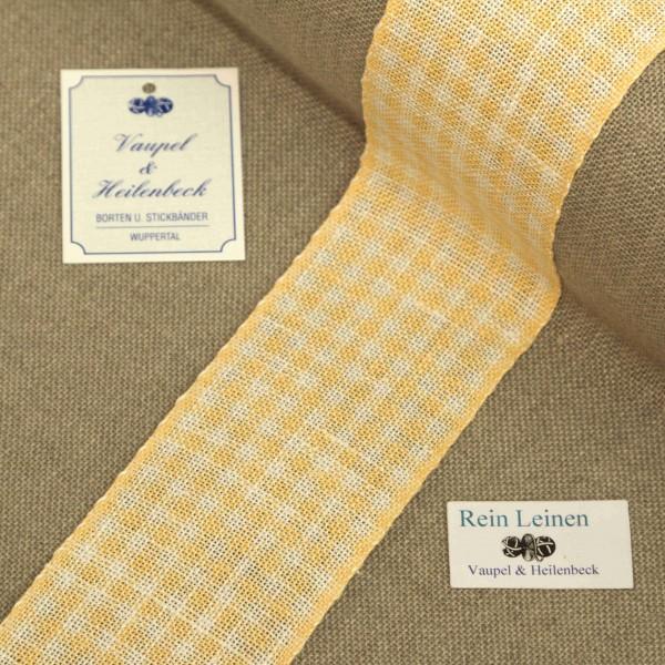 Leinenband 55 mm, 11-fädig, kariert, Farbe 232, hell mandarin - gebleicht