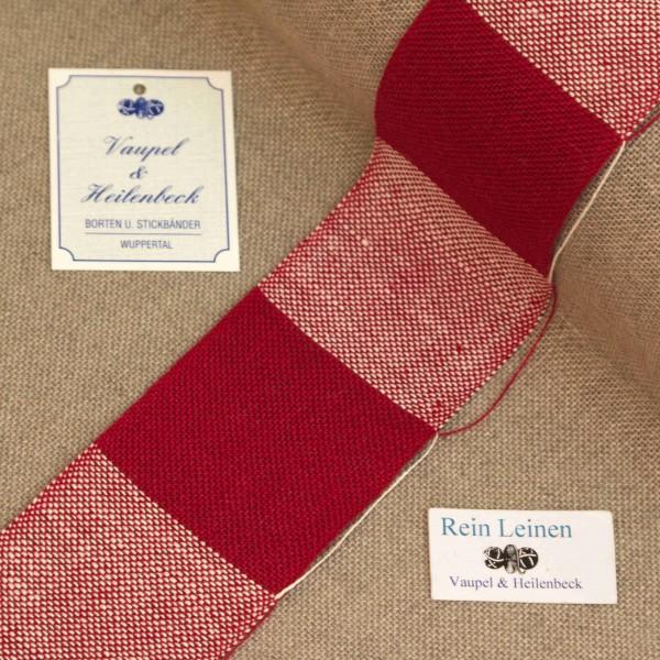 Leinenband 50 mm, 11-fädig, kariert, Farbe 230900, dunkelrot - dunkelrot meliert