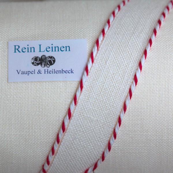 Leinenkordel gedreht 3 mm, Farbe 100208, weiß - rot
