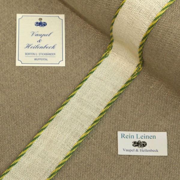 Leinenband 30 mm, 11-fädig, Farbe 234, gebleicht - Kordelrand BW grün / gelb