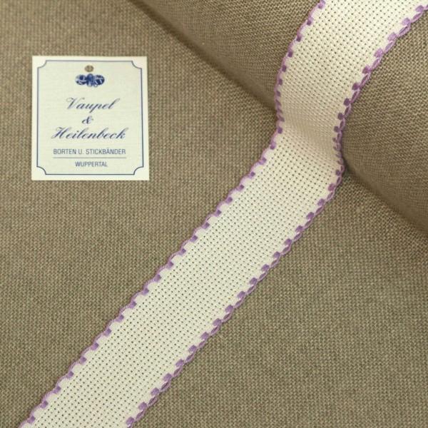Aida-Stickband 100% BW, 30 mm, Farbe 44, weiß - violett