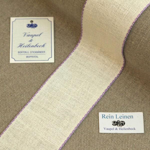 Leinenband 50 mm, 11-fädig, Farbe 44, gebleicht - Rand violett