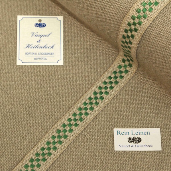 Leinenband 18 mm, 11-fädig, kariert, Farbe 23, natur - grün