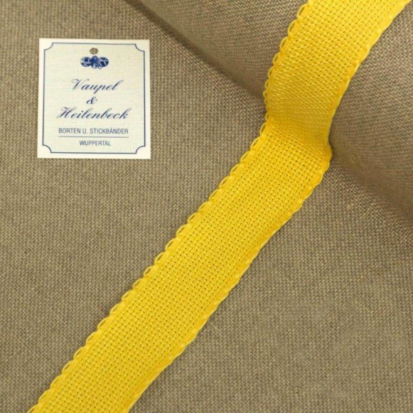 Aida-Stickband 100% BW, 30 mm, Farbe 4, gelb - gelb