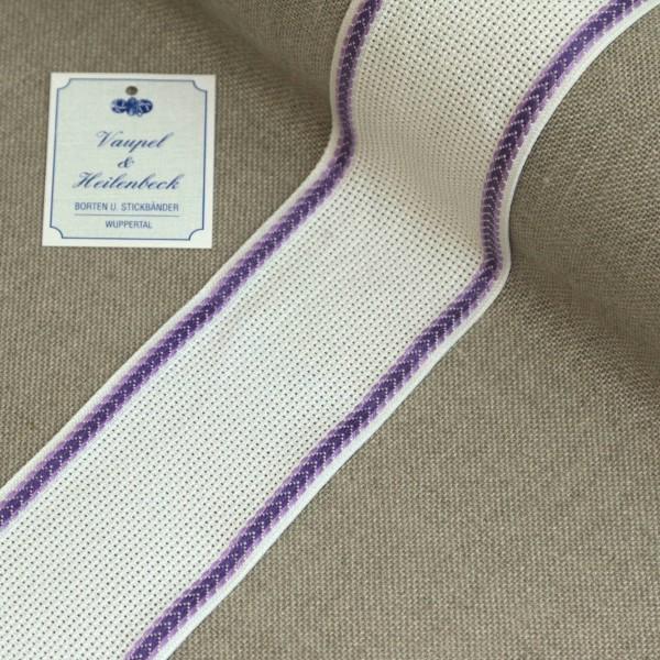 Aida-Stickband 100% BW, 55 mm, Farbe 33, weiß - violett