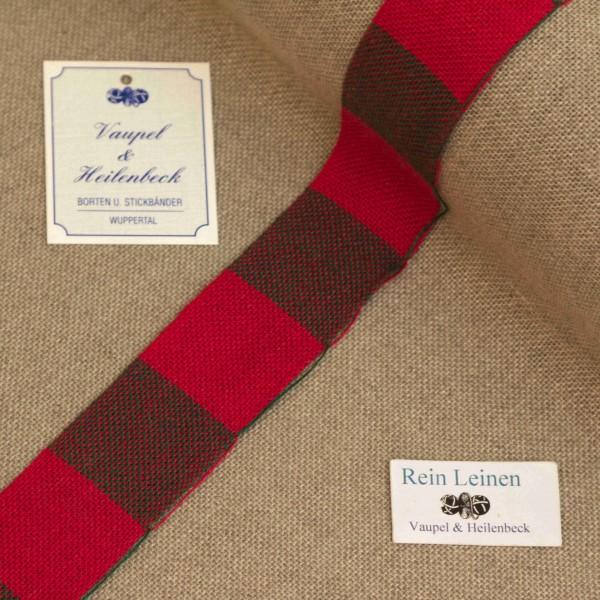 Leinenband 30 mm, 11-fädig, kariert, Farbe 208209, rot - grün meliert
