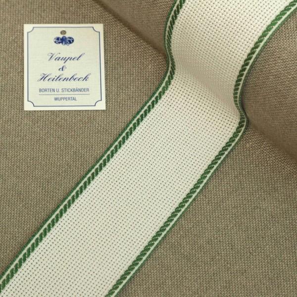 Aida-Stickband 100% BW, 50 mm, Farbe 23, weiß - grün