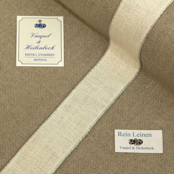 Leinenband 30 mm, 11-fädig, Farbe 90, gebleicht - Rand silber
