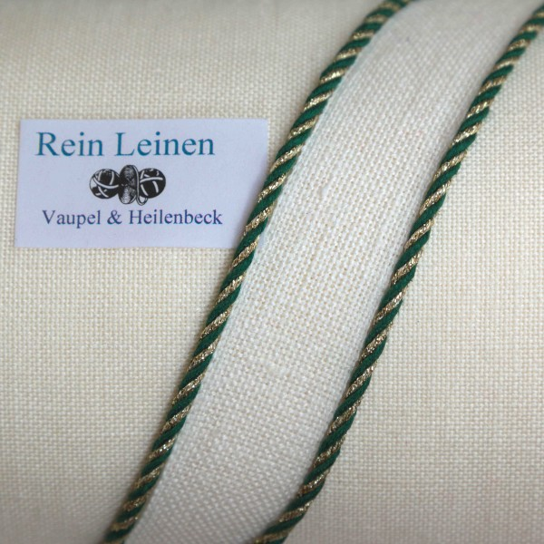 Leinenkordel gedreht 3 mm, Farbe 20990, grün - gold