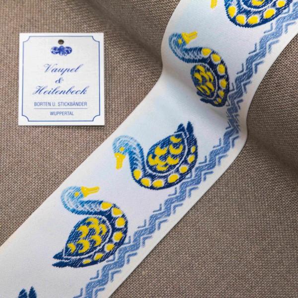 """Schmuckborte """"Enten"""" 56 mm, Farbe 016, weiß - blau"""
