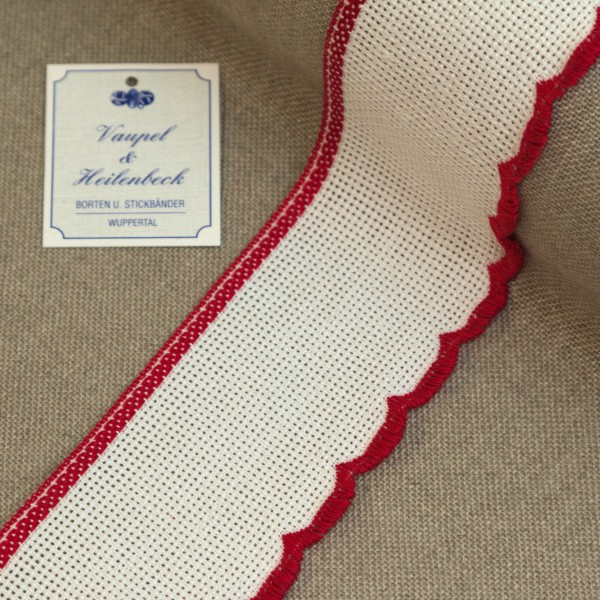 Aida-Stickband 100% BW, 55 mm, Farbe 8, weiß - rot