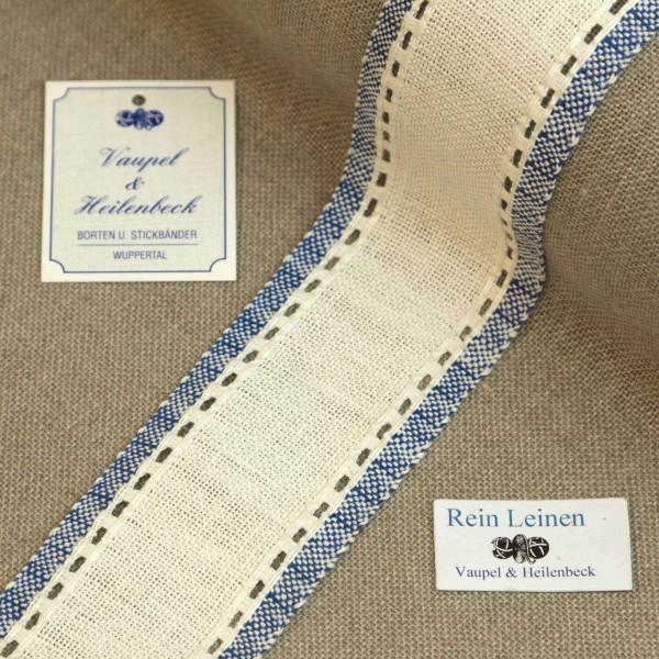 Leinenband mit Lochrand, 11-fädig, 50 mm, Farbe 19, gebleicht - blau