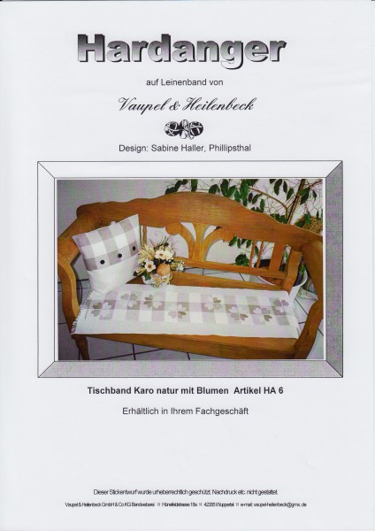 "Hardanger Stickanleitung ""Tischband Karo natur"""