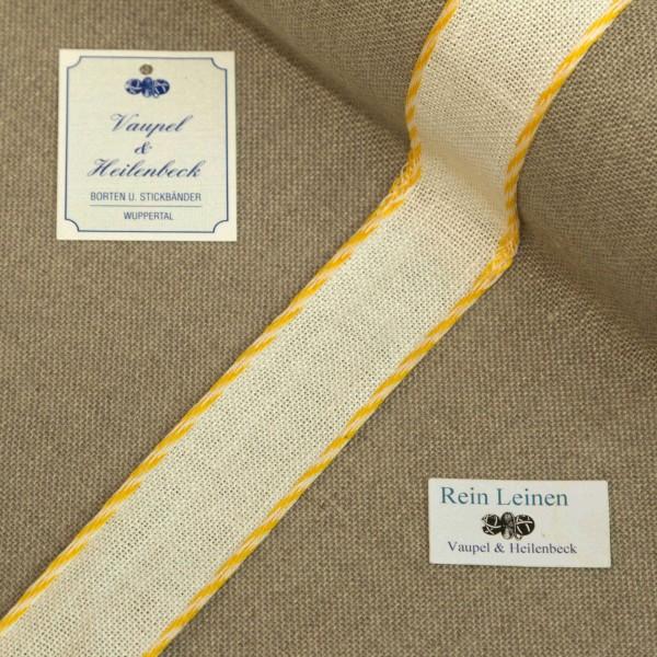 Leinenband 30 mm, 11-fädig, Farbe 430, gebleicht - Kordelrand BW gelb - weiß