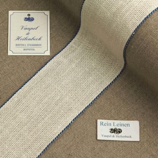 Leinenband 60 mm, 8,5-fädig, Rand farbig, Farbe 19, gebleicht - dunkelblau