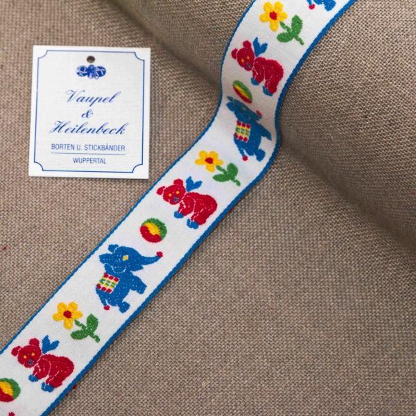 """Kinderborte """"Bärchen"""" 24 mm, Farbe 016, weiß - blau"""