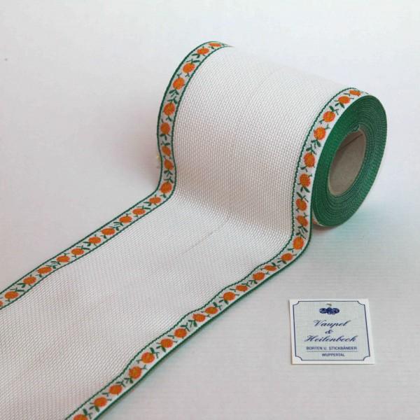 Aida-Stickband 100% BW, 100 mm, Farbe 4, weiß - Orange orange