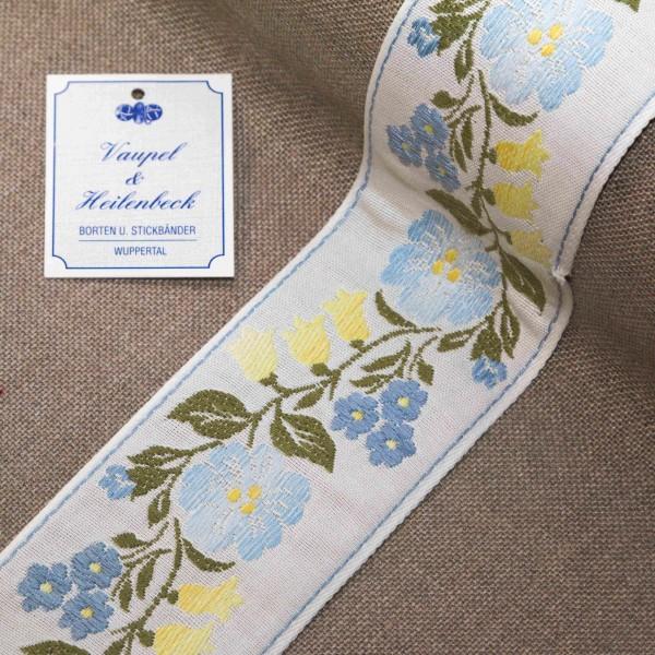 """Schmuckborte """"Blumengirlande"""" 60 mm, Farbe 160, weiß - blau"""