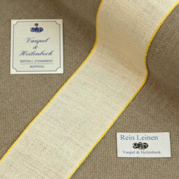 Leinenband 50 mm, 11-fädig, Farbe 4, gebleicht - Rand gelb