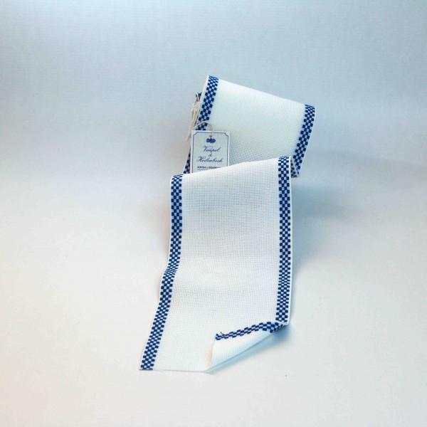 Aida-Stickband 100% BW, 120 mm, Farbe 19, weiß - Karo blau