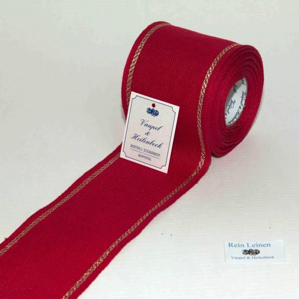 Leinenband 70 mm, 11-fädig, Rand gestreift, Farbe 90, rot - gold
