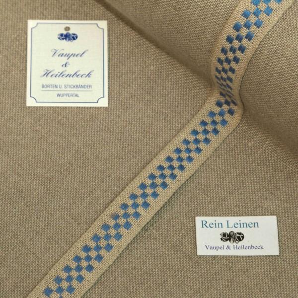 Leinenband 18 mm, 11-fädig, kariert, Farbe 51, natur - hellblau