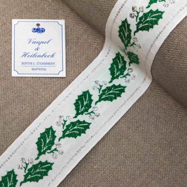 Schmuckborte 55 mm, Farbe 011, weiß - grün - silber