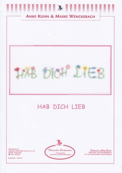 """Stickizz Kreuzstich No. AK511 """"Hab Dich lieb"""""""