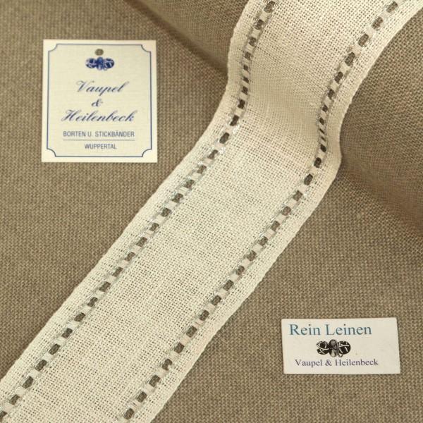 Leinenband mit Lochrand, 11-fädig, 50 mm, Farbe 95, gebleicht - silber