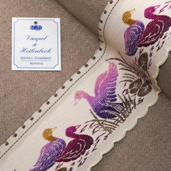 """Schmuckborte """"Enten"""" 65 mm, Farbe 028, weiß - violett"""